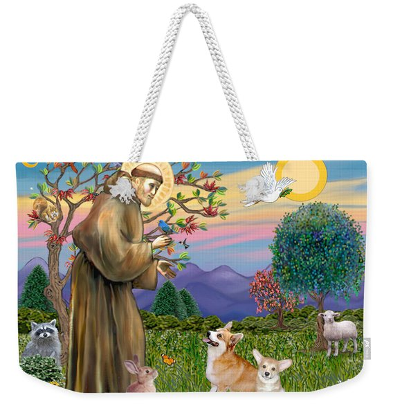 Saint Francis Blesses A Corgi And Her Pup Weekender Tote Bag