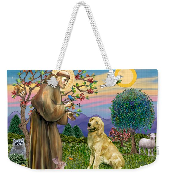 Saint Francis Blesses A Golden Retriever Weekender Tote Bag