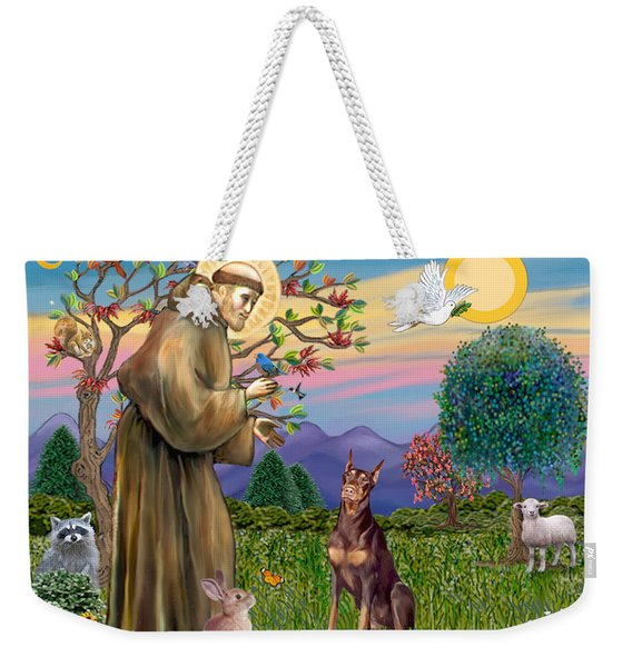 Saint Francis Blesses A Red Doberman Weekender Tote Bag