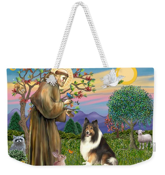 Saint Francis Blesses A Sable And White Collie Weekender Tote Bag