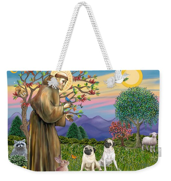Saint Francis Blesses Two Fawn Pugs Weekender Tote Bag