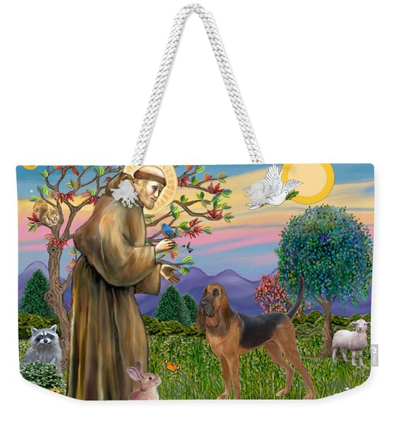 Saint Francis Blessing A Bloodhound Weekender Tote Bag