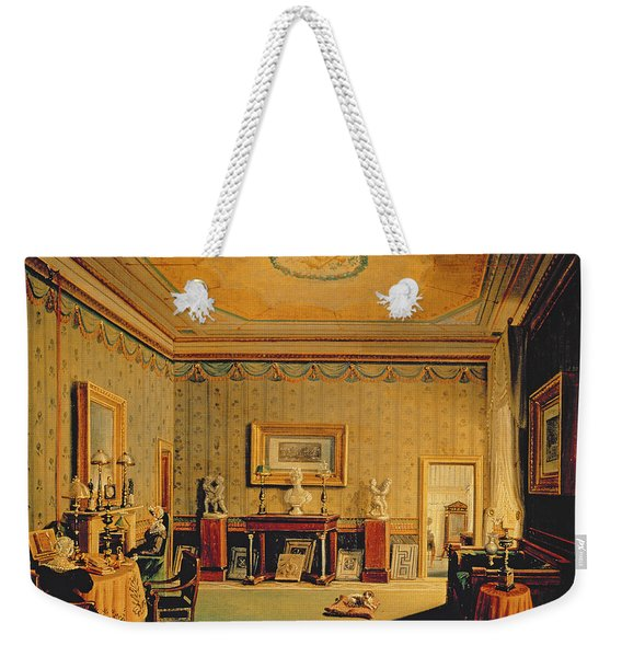 Salon In The Barbierrini House, 1830-40s Oil On Canvas Weekender Tote Bag
