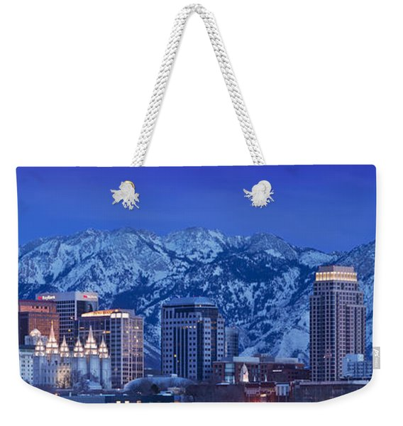 Weekender Tote Bag featuring the photograph Salt Lake City Skyline by Brian Jannsen