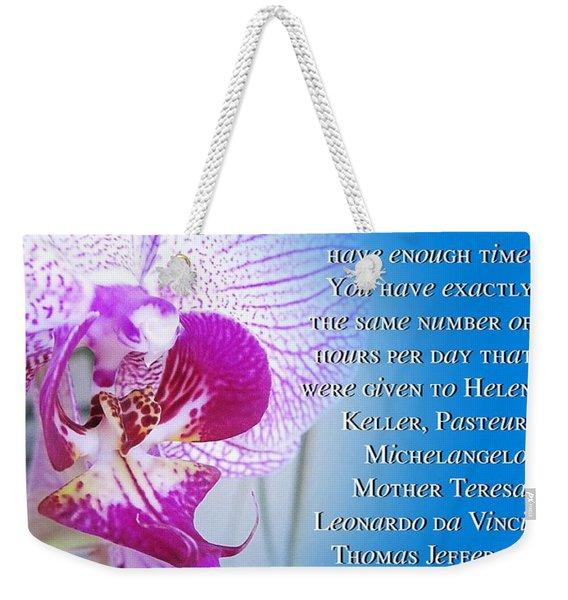 Same Time Weekender Tote Bag