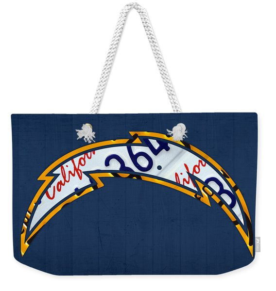 San Diego Chargers Football Team Retro Logo California License Plate Art Weekender Tote Bag