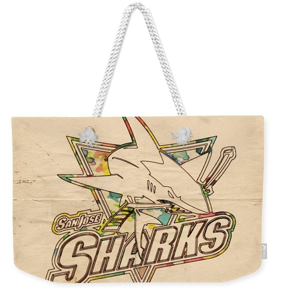 San Jose Sharks Vintage Poster Weekender Tote Bag