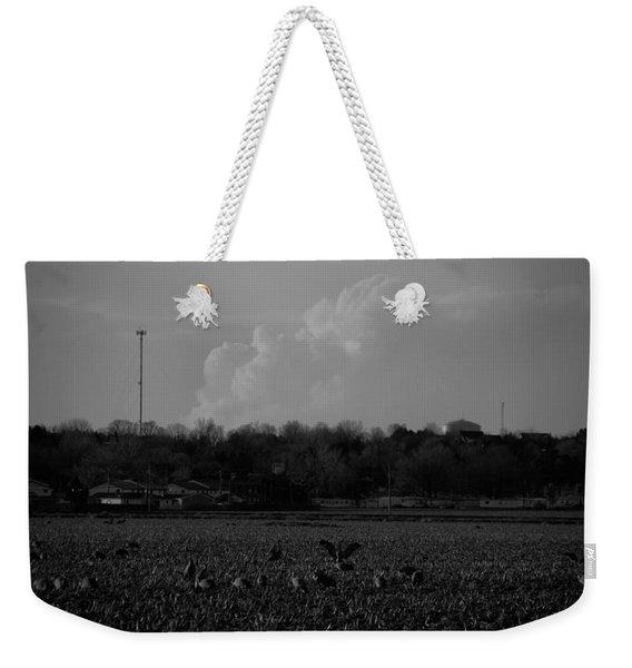 Sand Hill Cranes With Nebraska Thunderstorm Weekender Tote Bag