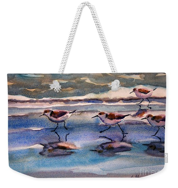 Sandpipers Running In Beach Shade 3-10-15 Weekender Tote Bag