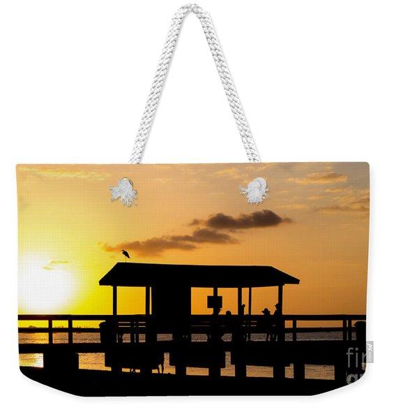 Sanibel Island Fishing Pier Florida Sunset Weekender Tote Bag