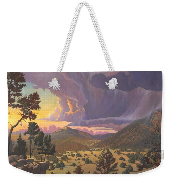 Weekender Tote Bag featuring the painting Santa Fe Baldy by Art West