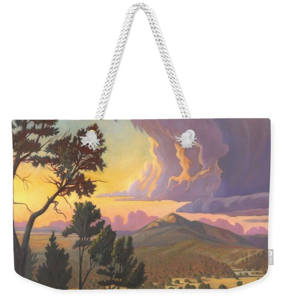 Weekender Tote Bag featuring the painting Santa Fe Baldy - Detail by Art West