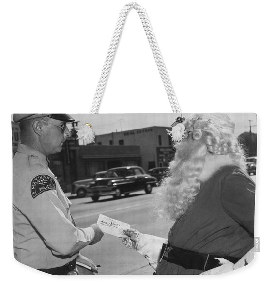 Santa Gets A Traffic Ticket Weekender Tote Bag