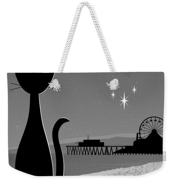 Weekender Tote Bag featuring the digital art Santa Monica Pier by Donna Mibus