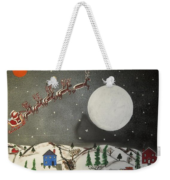 Santa Over The Moon Weekender Tote Bag