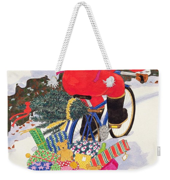 Santas Bike Weekender Tote Bag