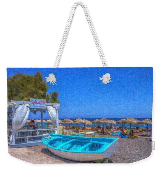 Santorini Beach Boat Grk4151 Weekender Tote Bag