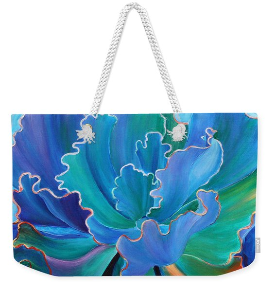 Weekender Tote Bag featuring the painting Sapphire Solitaire by Sandi Whetzel