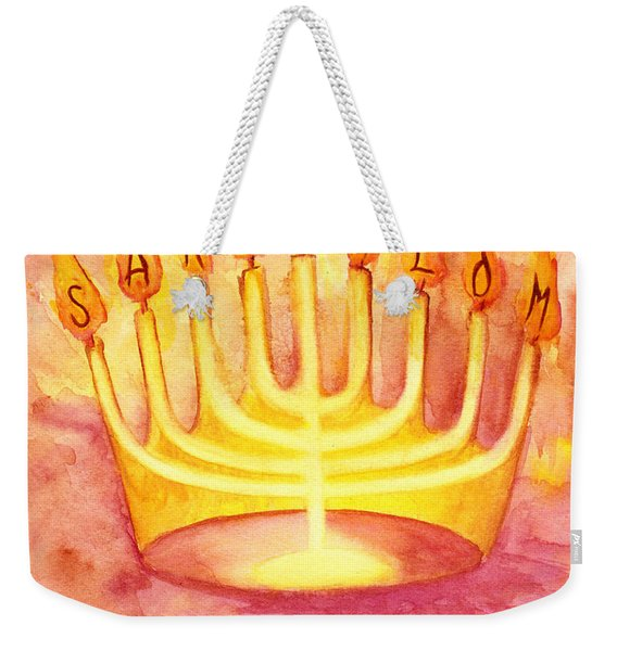 Weekender Tote Bag featuring the painting Sar Shalom by Nancy Cupp