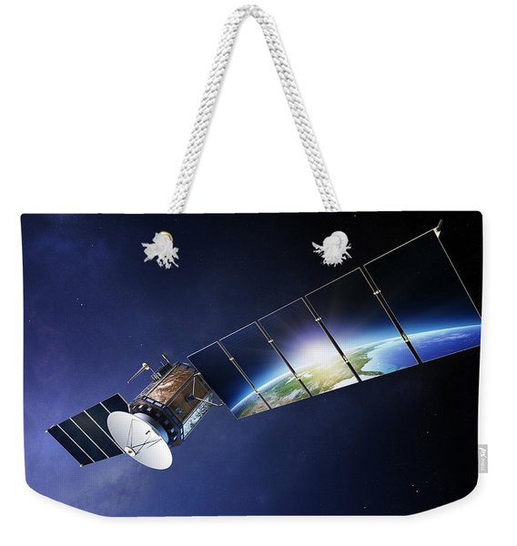Satellite Communications With Earth Weekender Tote Bag