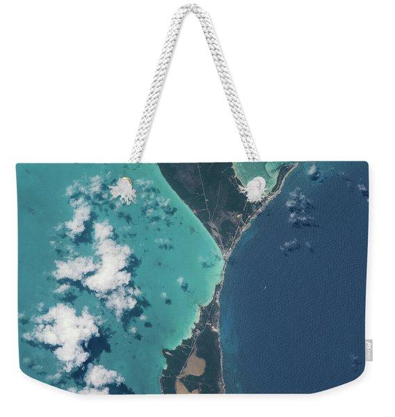 Satellite View Of North Eleuthera Weekender Tote Bag