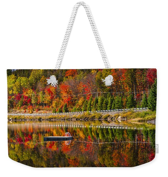 Scenic Road In Fall Forest Weekender Tote Bag