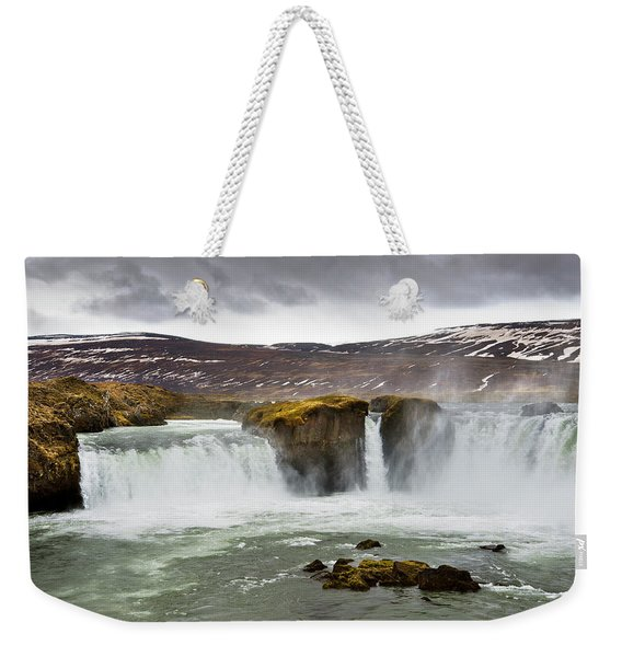 Scenic View Of Godafoss Waterfall Weekender Tote Bag