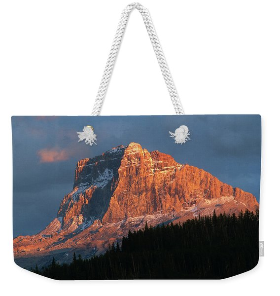 Scenic View Of Mountain With Silhouette Weekender Tote Bag
