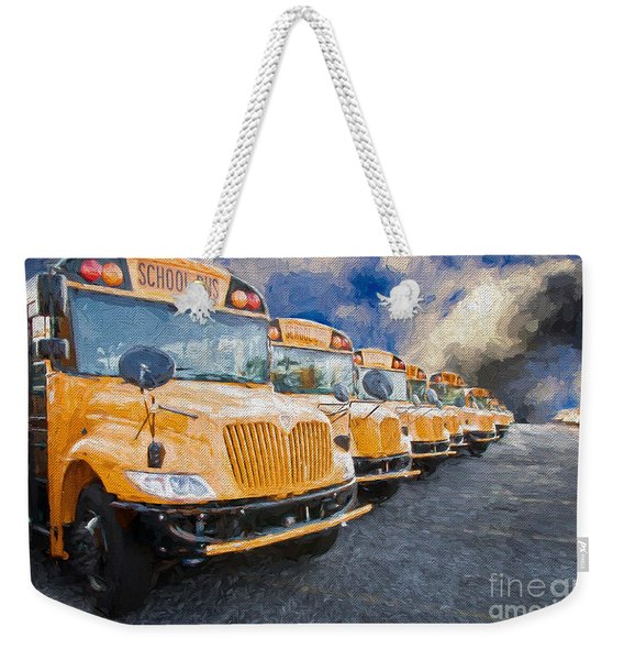School Bus Lot Painterly Weekender Tote Bag