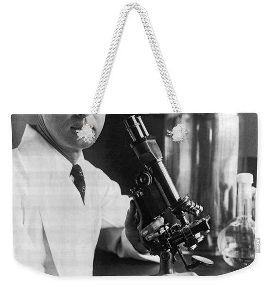 Scientist With Microscope Weekender Tote Bag