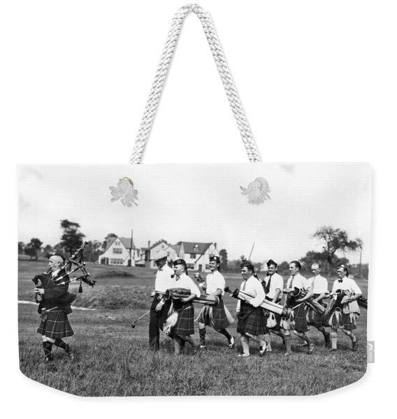 Scottish Golfers With Bagpipe Weekender Tote Bag