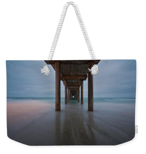 Scripps Pier Soft Blue Weekender Tote Bag