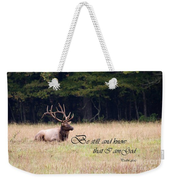 Scripture Photo With Elk Sitting Weekender Tote Bag
