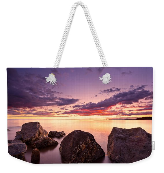 Sea At Sunset The Sky Is In Beautiful Dramatic Color Weekender Tote Bag