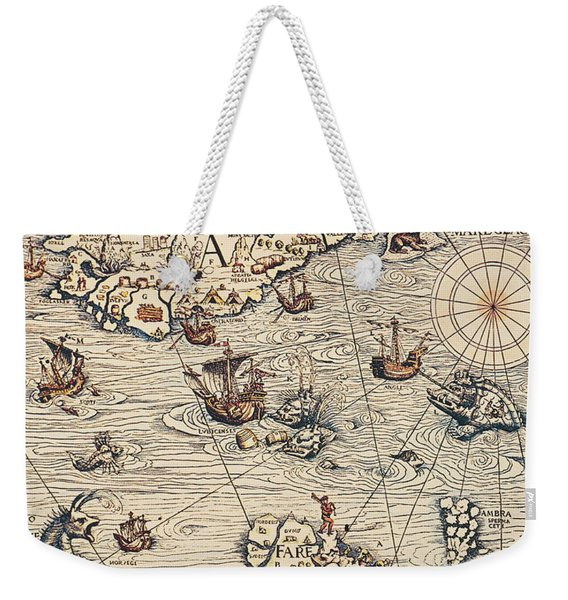 Sea Map By Olaus Magnus Weekender Tote Bag