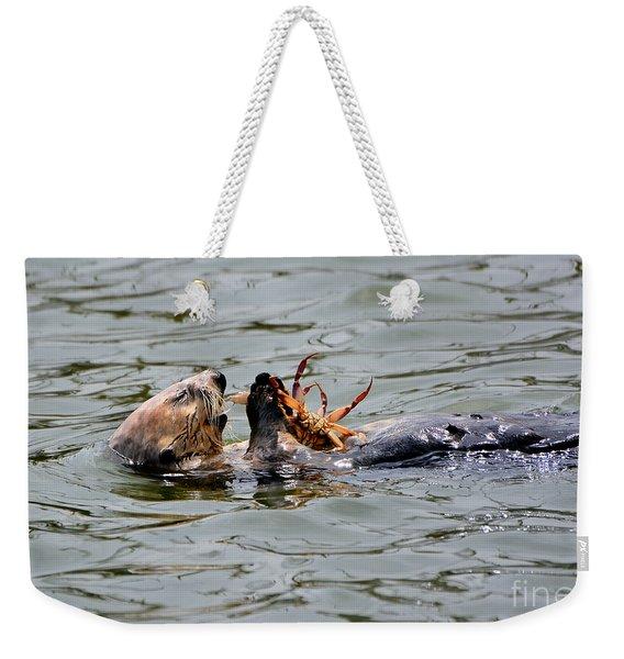 Sea Otter Munching On Crab Leg Weekender Tote Bag