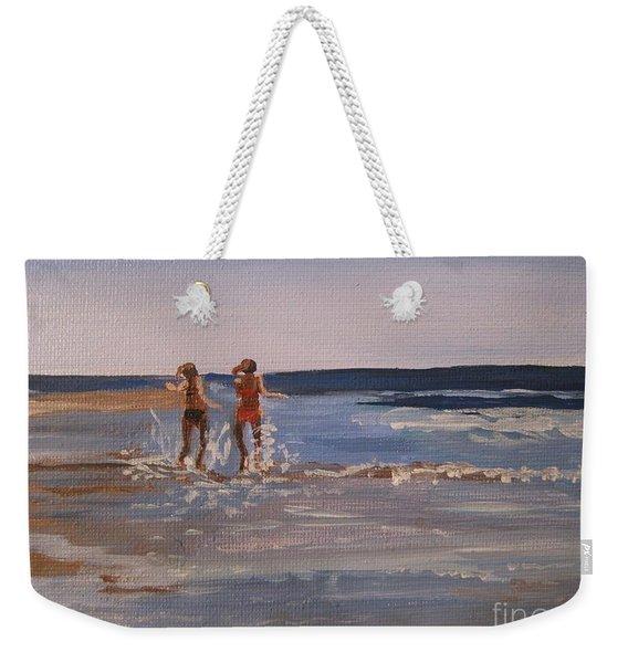 Sea Splashing On The Beach Weekender Tote Bag