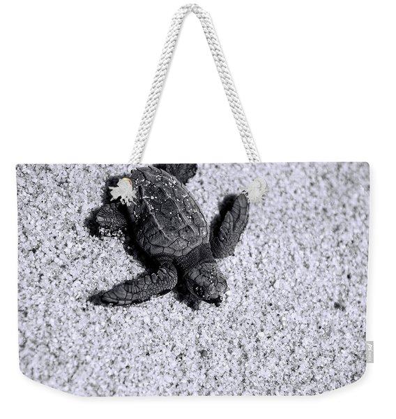 Sea Turtle In Black And White Weekender Tote Bag