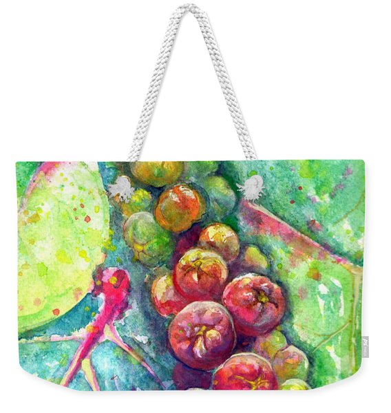 Weekender Tote Bag featuring the painting Seagrapes by Ashley Kujan
