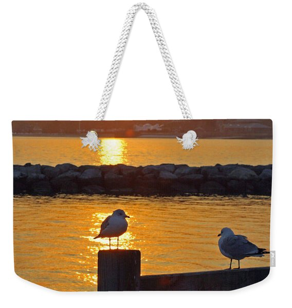 Seaguls At Sunset Weekender Tote Bag