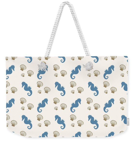 Seahorse And Shells Pattern Weekender Tote Bag