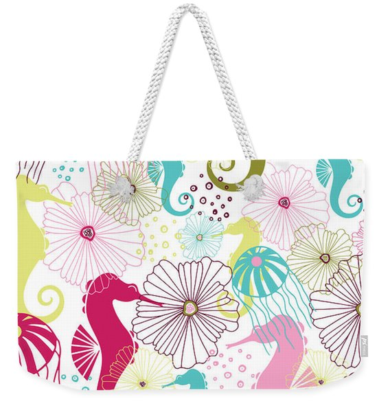 Seahorse Flora Weekender Tote Bag