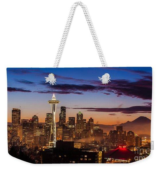 Seattle Fog Sunrise Weekender Tote Bag
