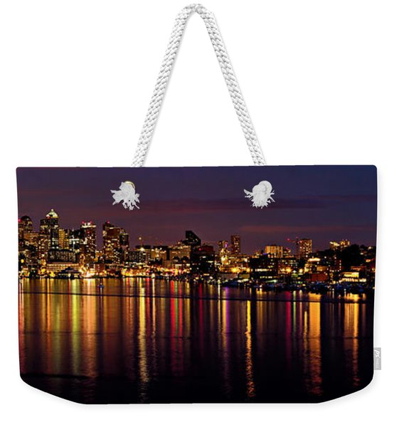 Seattle Night Reflections Weekender Tote Bag
