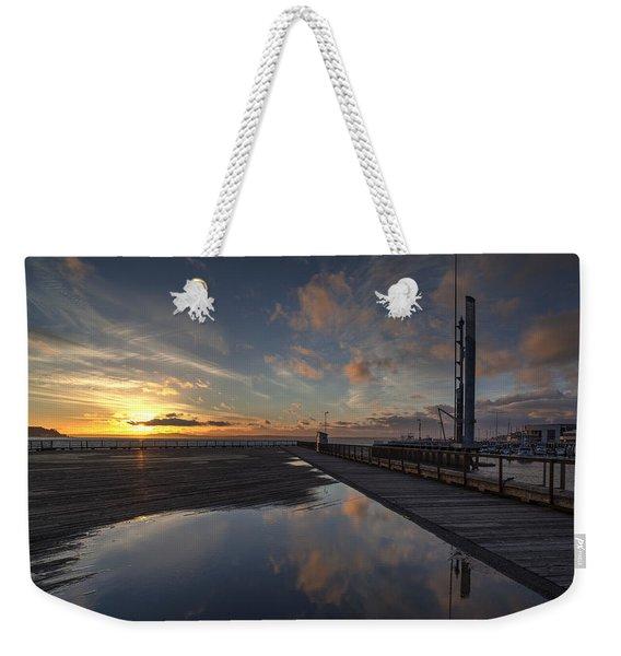 Seattle Pier Sunset Weekender Tote Bag