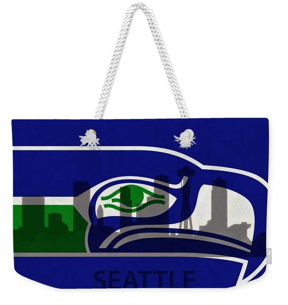 Seattle Seahawks On Seattle Skyline Weekender Tote Bag