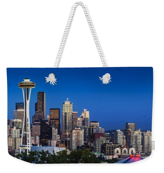Weekender Tote Bag featuring the photograph Seattle Skyline Panoramic by Brian Jannsen