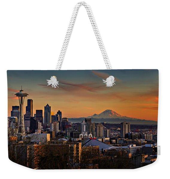 Seattle Sunset Panorama Weekender Tote Bag