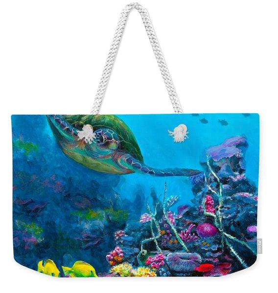 Secret Sanctuary - Hawaiian Green Sea Turtle And Reef Weekender Tote Bag