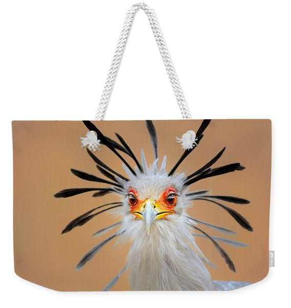 Secretary Bird Portrait Close-up Head Shot Weekender Tote Bag